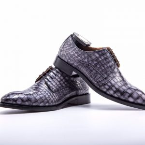 Men Dress Shoes Oxford Alligator Pattern Derby