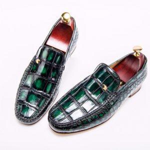 Mens Retro Crocodile Skin Print Loafers