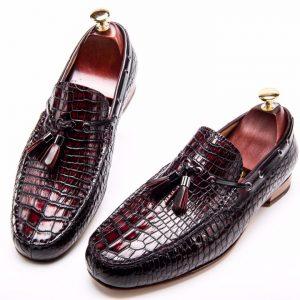 Men's Genuine Crocodile Tassel Loafers