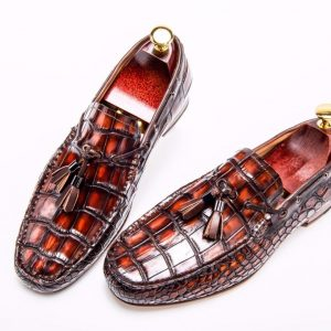 Men's Dress Loafers Tassel Crocodile Leather Slip-on Shoes