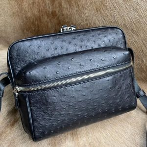 Real Ostrich Skin Men Casual Bag