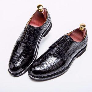 Men's Crocodile Dress Shoes Leather Business Shoes