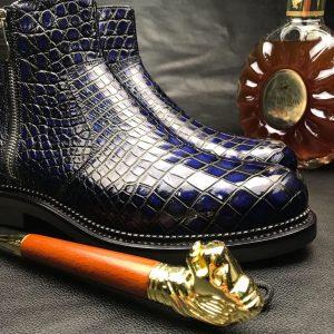 Genuine Crocodile Side Zipper Boots