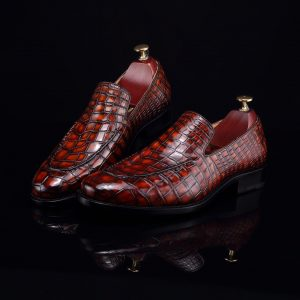 Crocodile Slip On Shoes Casual Leather Shoes