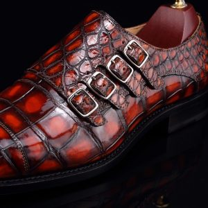 Monk Strap Shoes High-end Leather Crocodile Pattern Shoes