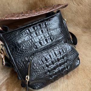 Cowhide Crocodile Pattern Shoulder Bag