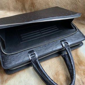 Black Ostrich Leather Bag Men Briefcase Bags
