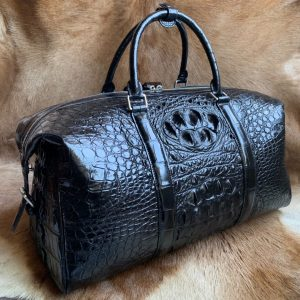 Crocodile Embossed Leather Travel Weekend Bag
