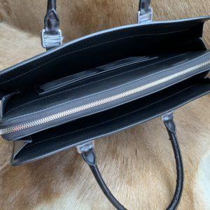 Ostrich Briefcase Bag Black Handbag