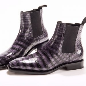 Men's Crocodile Pointy Toe Pull On Ankle Booties