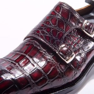 Men's Crocodile Cap Toe Double Monk Strap Shoes
