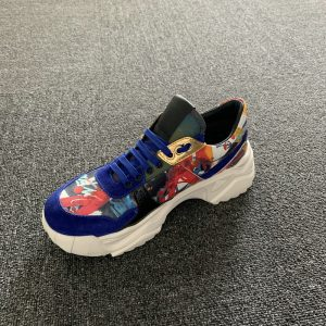 Youth Calfskin Leather Textile Trainers Sneaker