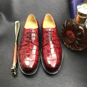 Men red gator dress shoes Classic Derby