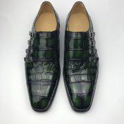 Men's Crocodile Cap Toe Monk Strap Shoes