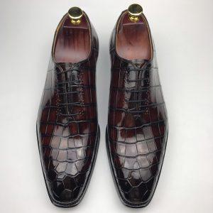 Men's Exotic Smooth Crocodile Print Comfortable Oxford