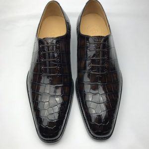 Crocodile Genuine Leather Oxford Lace-Up Dress Shoes