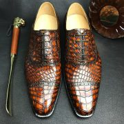 Luxury Crocodile Textured Leather Derby Dress Shoes
