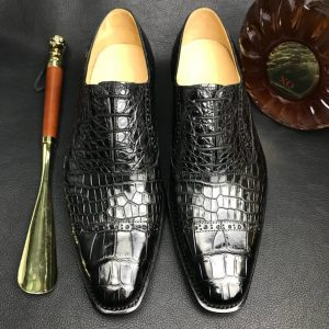 Crocodile Cap Toe Derby Lace Up Oxford Dress Shoes