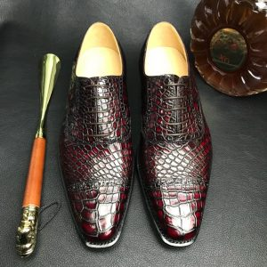 Genuine Leather Oxford Handmade Crocodile Lace Up Shoes