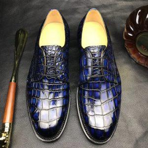 Men Crocodile Patent Dress Shoes