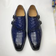 Crocodile Leather Brogues Buckle Shoes