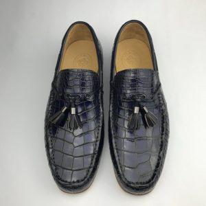 Tassel Loafers Shoes Men Pointed Toe Crocodile Men Shoes