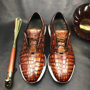 Mens Crocodile Print Lace Up Designer Shoes