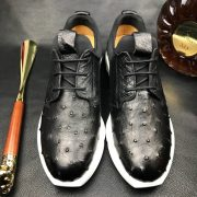 Ostrich Print Leather Derby Lace up Casual Shoes