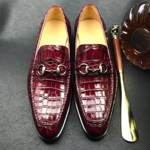 Genuine Crocodile leather vintage burgundy loafers