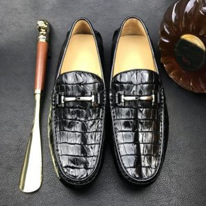 Crocodile Horn Back Leather Slip On Casual Loafer