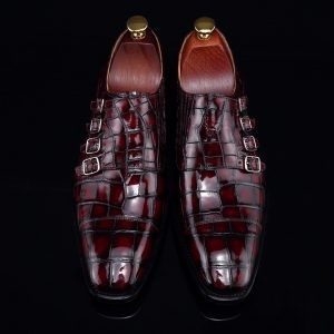 Monk Strap Shoes High-end Leather Crocodile Shoes