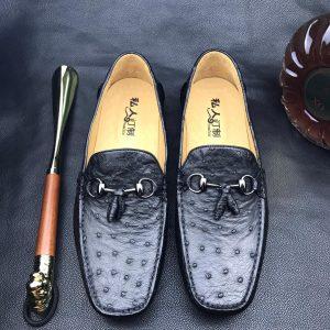 Men's Slip On Ostrich Loafer Dress Shoes