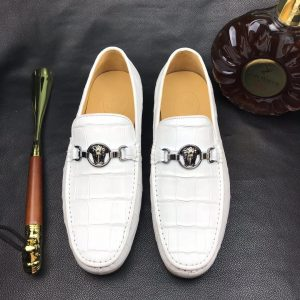 White Crocodile Print Genuine Leather Slip On Loafer