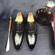 Crocodile Skin Black Gold Oxford Shoe