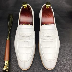 Mens White Genuine Crocodile Penny Loafers
