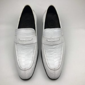 Crocodile White Loafer Shoes Texture Slip-Ons