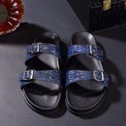 Crocodile Double Buckle Slipper Leather Sandals