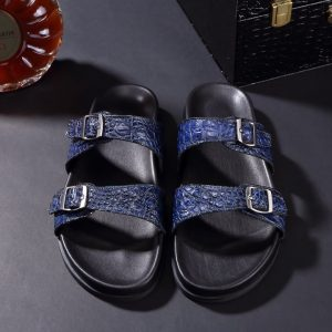 Crocodile Double Buckle Slipper Leather Sandals