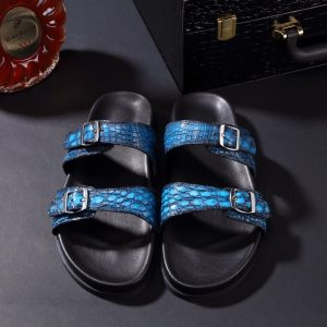 Men's Open Toe Crocodile slippers