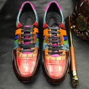 Men's Colorful All Real Crocodile Skin Sneakers