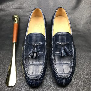 Lifestyle Men's Handcrafted Crocodile Penny Loafer