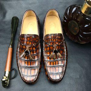 Men Moccasin Boat Shoes Crocodile Pattern