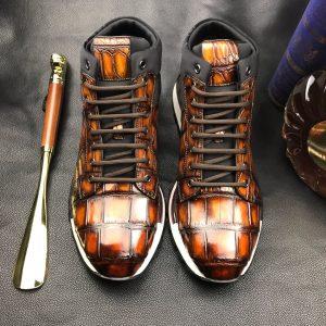 Mens Fashion Crocodile Sneakers Sports Shoe