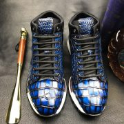 Men's Blue All Real Crocodile Skin Sneakers
