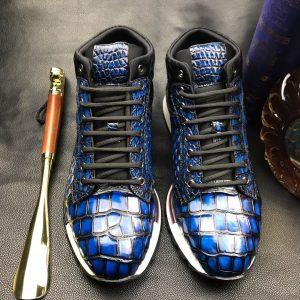Men's Blue All Real Crocodile Skin Sneakers