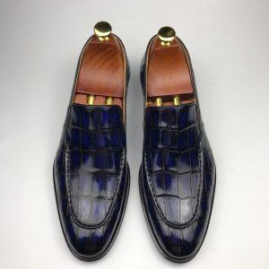 Mens Crocodile Slip-On Dress Loafer