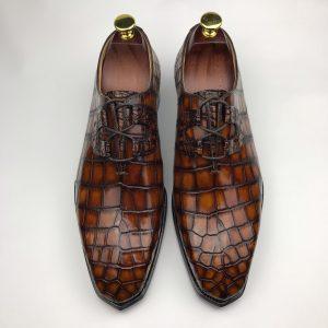 Handmade Chinese Shoes Crocodile Oxford