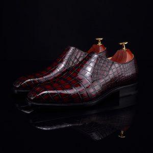 Crocodile Skin Slip On Crocodile Leather Boat Shoes