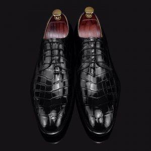 Men's Crocodile Print Dress Shoes Lace-up Derby
