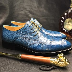 Crocodile Embossed Handmade Men Leather Oxford